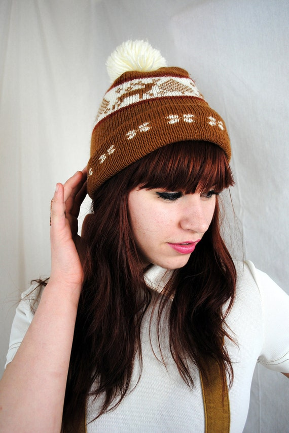 Vintage Winter Pom Pom Hat