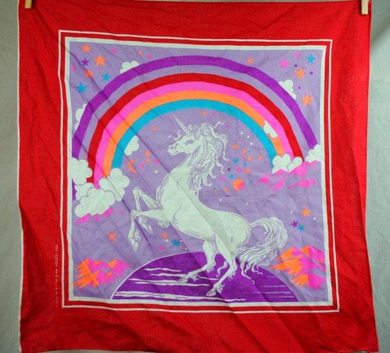 Vintage 80s Unicorn Rainbow Hankerchief Scarf