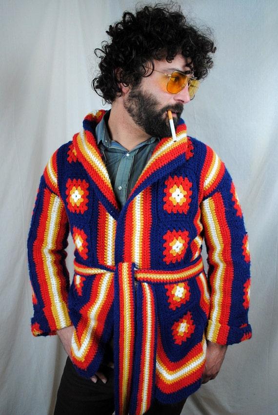 Funky Vintage Granny Square Sweater Cardigan Jacket
