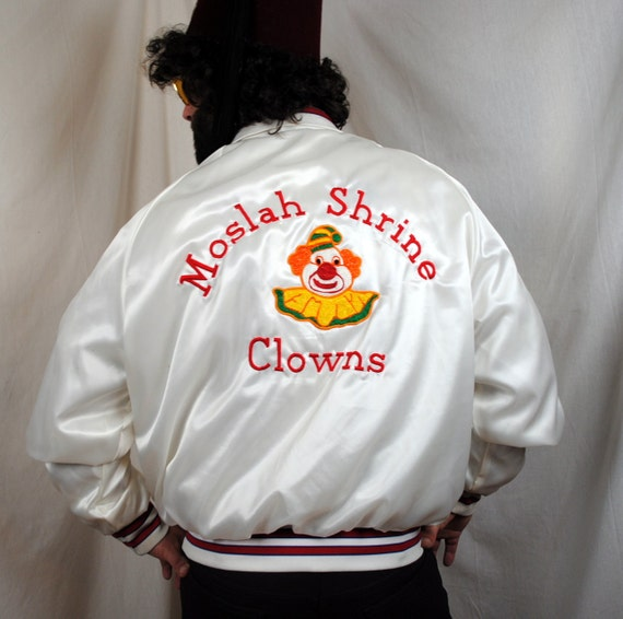 Cliff's Vintage Shriner Embroidered Scary Clown Satin Jacket