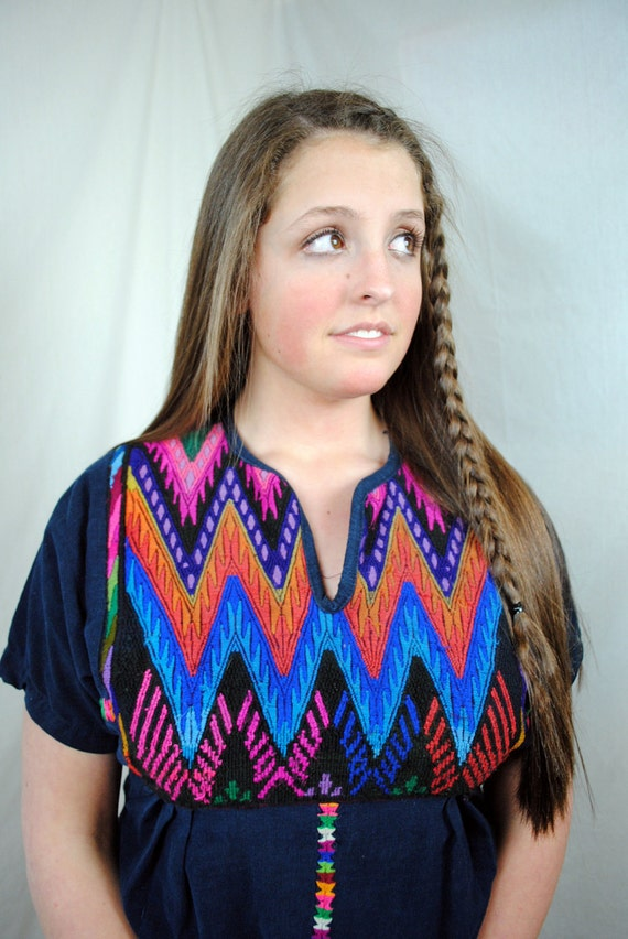Vintage Woven Guatemalan Ethnic Huipil Dress