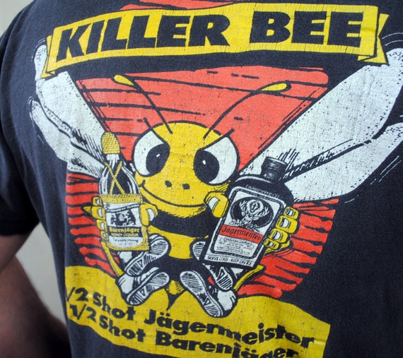 Vintage 80s 90s Jagermeister Faded Killer Bee Tee Shirt