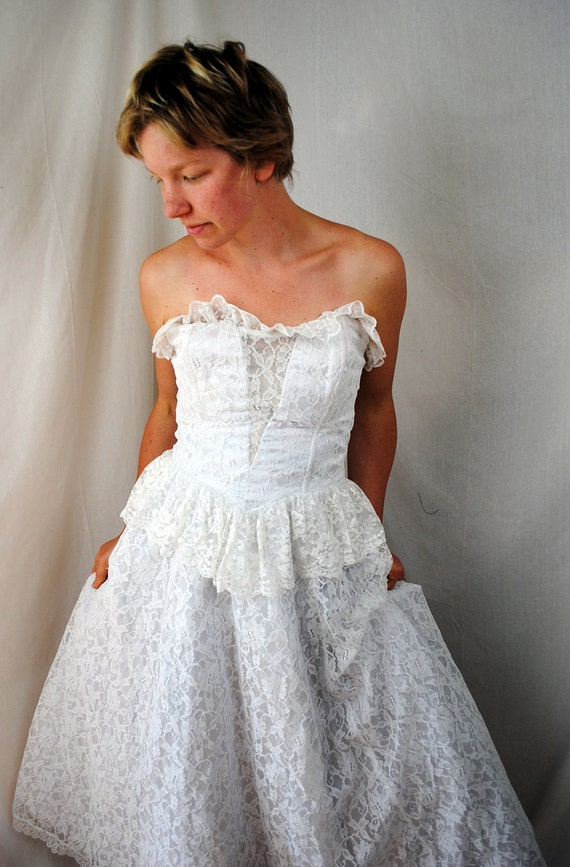 Vintage Gunne Sax by Jessica McClintock Strapless Lace Wedding Dress - Large