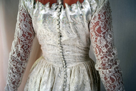 Vintage Sequined Wedding Dress Gown