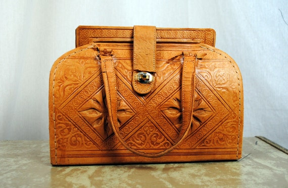 Vintage Ethnic Tooled Leather Purse Bag