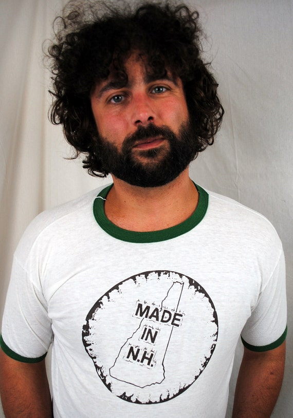 Vintage 1980s New Hampshire Ringer Tee Shirt