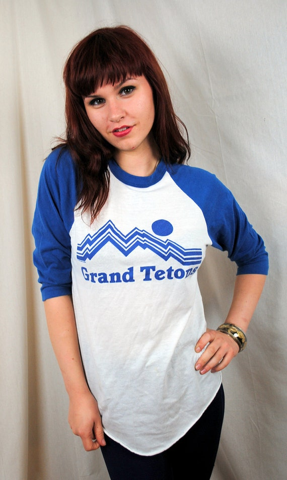 RARE 1981 Grand Tetons Vintage Raglan Tee Shirt
