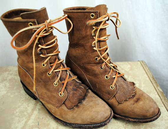 RESERVED FREEDOMRAINBOW Vintage Justin Granny Combat Lace Up Lacer Boots