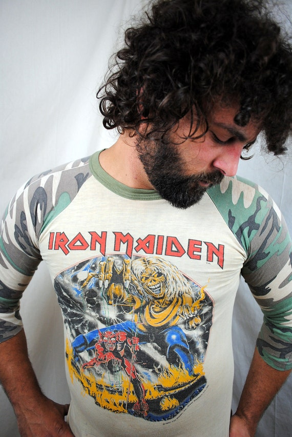 reserved for mike  Authentic RARE Vintage IRON MAIDEN 1982 Camo Concert Jersey T-Shirt Tour Shirt