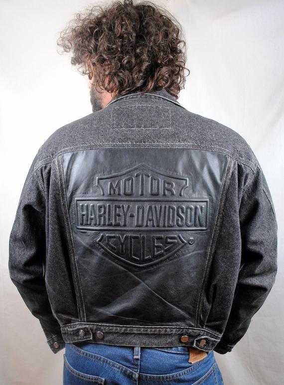 Vintage 1990s Harley Davidson Black Denim Motorcycle Jacket Coat