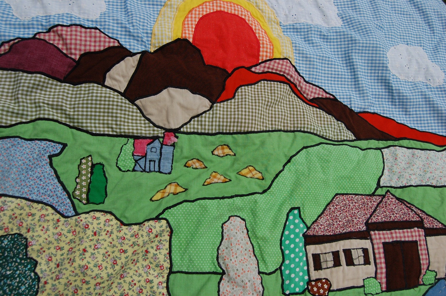 Ooak Super Cute Patchwork Country Scene Quilt
