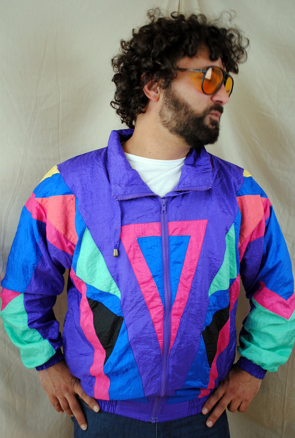 80s Vintage Clothing In The Uk Just Got Easier: Vintage 80s Neon Jacket WIndbreaker