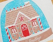 Letterpress Christmas Card Set... Gingerbread Snow Globe