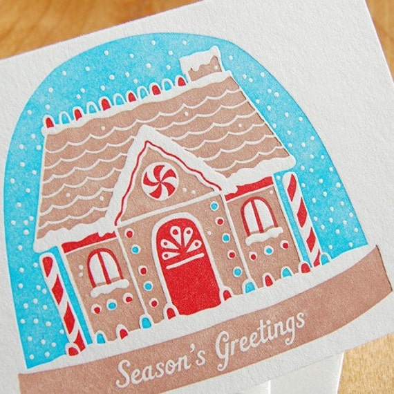 Letterpress Christmas Card Set... Gingerbread Snow Globe