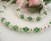 Green Necklace, Necklace and Bracelet, Flower Girl, Pearls, Crystals, Green Jewelry, Kids Jewelry, Pageant, Toddler, Girl, Dressy