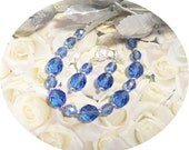 Bridesmaid Jewelry,  Blue, Sapphire Blue, Blue Jewelry, Bracelet, Earrings, Wedding, Summer