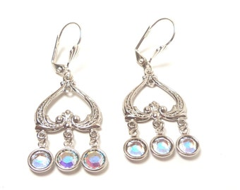 Silver and AB Crystal Chandelier Earrings, Dangle Earrings, Dressy Earrings, Mother of Bride, Mother of Groom, Bridesmaid Earrings