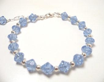 Light Blue Bracelet. Summer Bracelet, Blue Bracelet, Blue Crystal Bracelet. Bridesmaid Bracelet, Light Blue Bracelet, Mothers Day, Easter