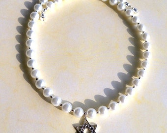 Star of David Pendant and Pearl Necklace