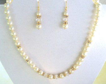 Wedding Jewelry, Gold Accents, Necklace, Earrings,  Pearls, Crystals, Bridal Jewelry, Ivory, Bridal Accessory,
