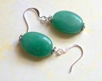 Natural Green Adventurine Drop Earrings