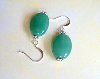 Natural Green Adventurine Drop Earrings, St Patricks Day, Green Earrings, Green Dangle Earrings, Adventurine Earrings