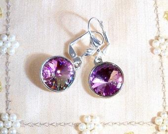 Purple Earrings, Dangle Earrings, Sparkly Earrings, Purple Dangle Earrings, Austrian Crystal, Purple Pink Earrings, Mothers Day Gift