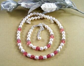Girls Pink Crystal Jewelry Set, Flower Girl,  Dressy, Toddler, Kids Jewelry, Pink Jewelry, October Birthstone