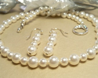 Classic,  Bridal,  Pearl  Necklace and Earrings, Wedding, Dressy, Jewelry Set Bridal Accessories, Bridesmaid Jewelry Mother Daughter