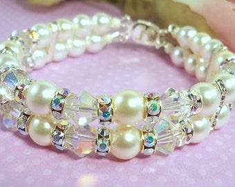 Bridal Bracelet,  2 Strand, Pearls Crystals and Rhinestones, Double Strand, Wedding, Wedding Accessories