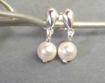 Kids Earrings, Pearl Earrings, White Pearl Earrings, Flower Girl Jewelry, Little Girl  Earrings, Dainty