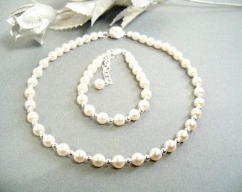 Girls Pearl Necklace and Bracelet, Flower Girl, Dressy,  Baptism, Toddler, Kids, First Pearls