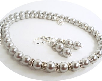 Gray Jewelry, Bridal Jewelry, Necklace and Earrings, Bridesmaid Jewelry, Wedding Jewelry, Gray Pearl Jewelry, Pearl and Rhinestone, Grey