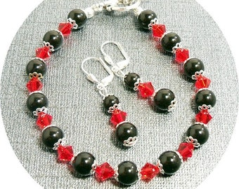 Red and Black,  Wedding Jewelry, Bracelet and Earrings, Bridesmaid, Prom, Pearl and Crystal,  Dressy, Holiday Jewelry