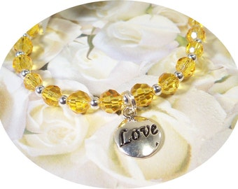 Little Girls Yellow Necklace with Love Pendant, Toddler