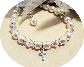Baptism Bracelet with Cross, Communion,  Baby, Toddler,  Girl
