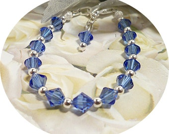 Girls Blue Bracelet, Austrian Crystal, Pageant, Flower Girl, Sapphire Blue, Kids Jewelry, Dressy, Toddler Jewelry, September Birthstone