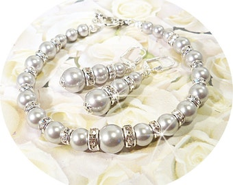 Bridal Jewelry, Gray Wedding, Gray Jewelry, Bracelet Earrings, Bridesmaid Jewelry, Wedding Jewelry, Grey Jewelry Bridal, Wedding, Dressy