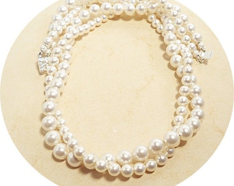 Bridal Jewelry, White Double Strand Twisted Pearl Necklace, Pearl Necklace, 2 Strand, Wedding