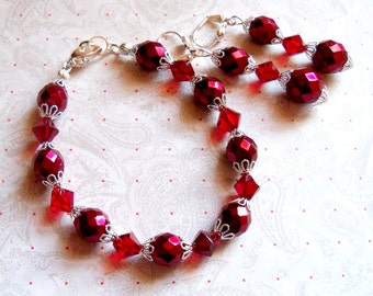 Apple Red, Red Bracelet and Earrings Set, Bridesmaid Jewelry,  Jewelry Set, Wedding Jewelry, Red Jewelry, Dark Red, Bridesmaid Gift,