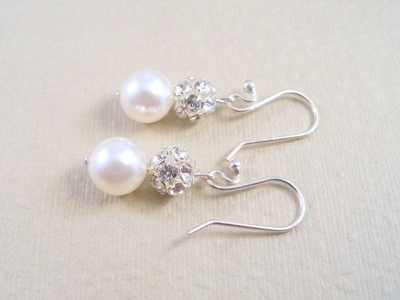 Bridal Earrings,  Rhinestones and Pearls,  Bride, Bridesmaid,  Dressy, Wedding, Jewelry, Bridal Jewelry, Prom