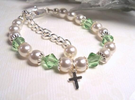 Girls Peridot Mint Green Bracelet August Birthstone,Flower Girl, ToddlerJewelry, Baptism Bracelet, Kids Jewelry, Birthstone Bracelet