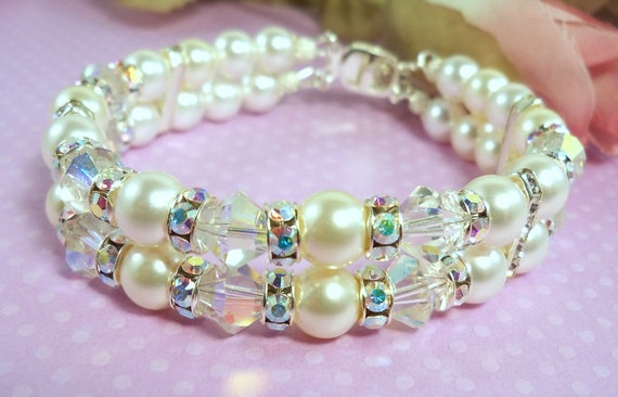 Bridal Bracelet,  2 Strand, Pearls Crystals and Rhinestones, Double Strand, Wedding, Wedding Accessories