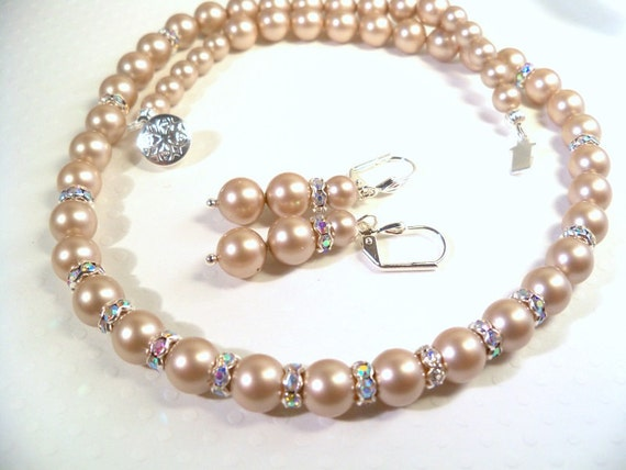 Bridal Necklace and Earrings Set Almond Pearls Rhinestones, Latte