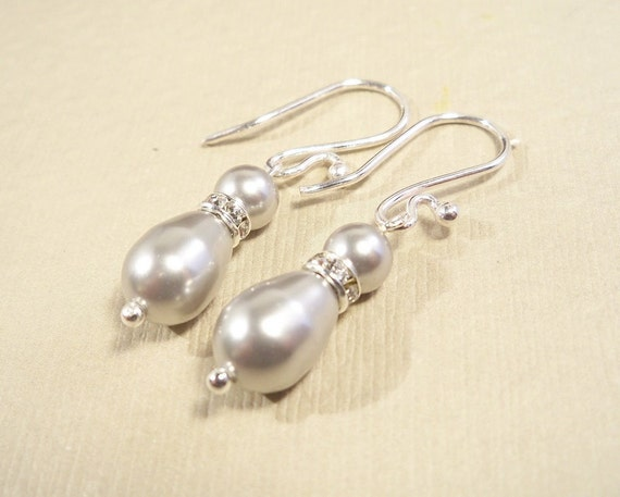 Gray Pearl Bridal Earrings,  Pearl and Rhinestone, Wedding, Prom, Dressy, Pear Shaped