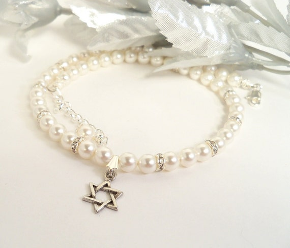 Little Girls Star of David Necklace, Pearls, Crystals, Kids Jewelry, Jewish Star, Hanukkah Gift, Flower Girl, Naming Ceremony