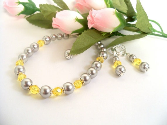 Yellow and Gray, Bracelet, Earrings, Gray and Yellow, Wedding, Bridesmaid, Grey and Yellow, Prom