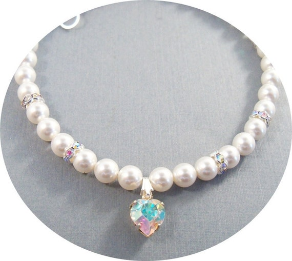 Girls Heart Necklace, Pearls, Rhinestones, Heart, Toddler, Flower Girl Jewelry, Pageant Necklace, Glitz, Kids Jewelry