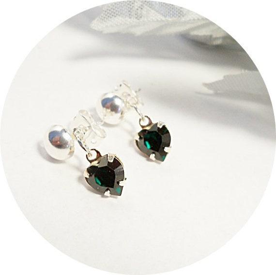Little Girl Earrings, Toddler, Emerald Green, Heart Earrings, Flower Girl, Pageant, Dressy, Green Earrings