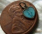 Tiny Heart Vintage Italian Aqua Blue Enamel Virgin Mary Miraculous Medal Rosary Charm Pendant